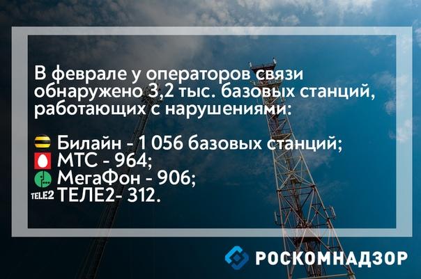 В феврале выявлено более 3,2 тыс. базовых станций операторов связи «большой четверки», работающих с нарушениями 1