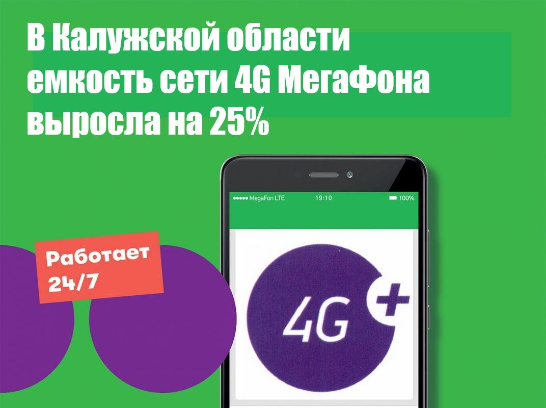 В Калужской области емкость сети 4G МегаФона выросла на 25% 1